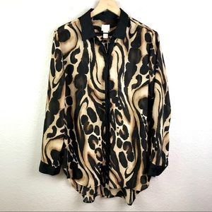 Chico's Charming Ocelot Fiona Button Up Blouse